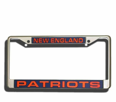 New England Patriots Laser Etched Chrome License Plate Frame