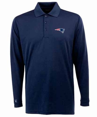 New England Patriots Mens Long Sleeve Polo Shirt (Team Color: Navy)