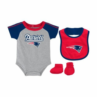 New England Patriots Newborn NFL 3 Piece Creeper Bib Bootie Set