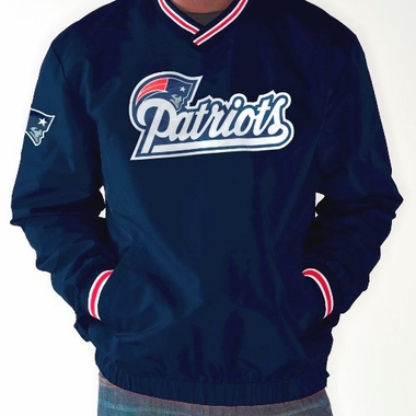 New England Patriots NFL Match-Up Wordmark Pullover Embroidered Jacket - Navy