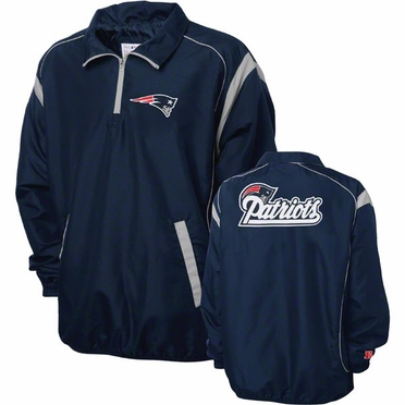 New England Patriots NFL Red Zone 1/4 Zip Navy Jacket