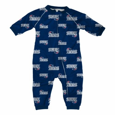 New England Patriots NFL Toddler Raglan Zip Up Sleeper