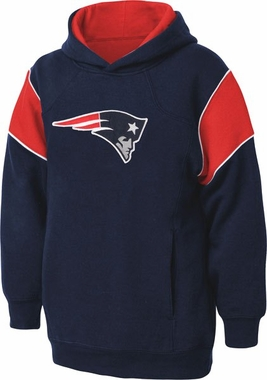 New England Patriots NFL YOUTH Color Block Pullover Hooded Sweatshirt