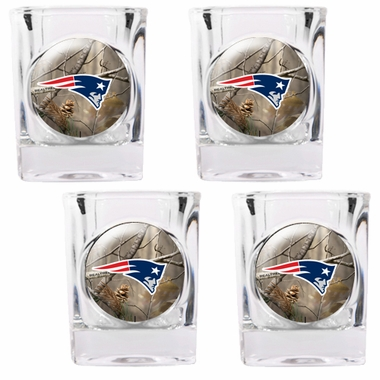 New England Patriots Open Field 4pc Square Shot Glass Set
