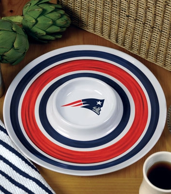 New England Patriots Plastic Chip and Dip Plate
