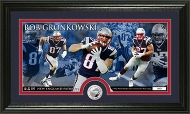 New England Patriots Rob Gronkowski Minted Coin Panoramic Photo Mint