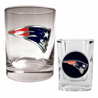 New England Patriots Rocks and Shot Glass Set