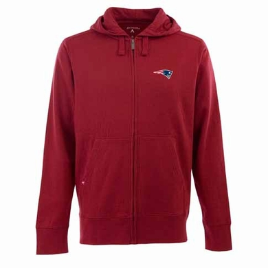 New England Patriots Mens Signature Full Zip Hooded Sweatshirt (Alternate Color: Red)