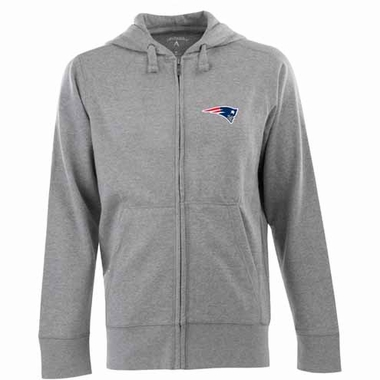 New England Patriots Mens Signature Full Zip Hooded Sweatshirt (Color: Gray)