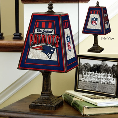 New England Patriots Small Art Glass Lamp