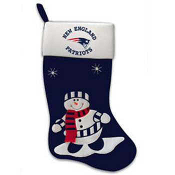 New England Patriots Snowman Fabric Stocking