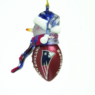 New England Patriots Striped Acrylic Touchdown Snowman Ornament (Set of 4)