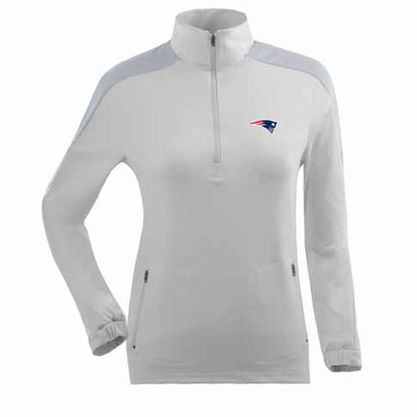 New England Patriots Womens Succeed 1/4 Zip Performance Pullover (Color: White)