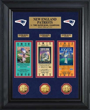 New England Patriots New England Patriots Super Bowl Ticket and Game Coin Collection Framed