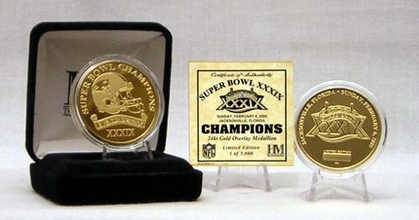 New England Patriots Superbowl XXXIX Champion 24 Kt Gold Overlay Coin