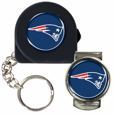 New England Patriots Tape Measure Key Chain and Money Clip Set