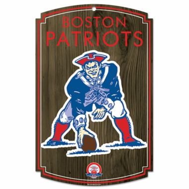 New England Patriots Throwback (Logo) Wood Sign