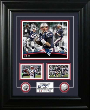 """New England Patriots Tom Brady """"Marquee"""" Silver Coin Photo Mint"""