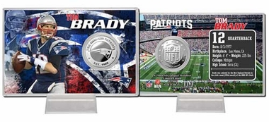New England Patriots Tom Brady Silver Coin Card