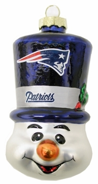 New England Patriots Tophat Snowman Glass Ornament