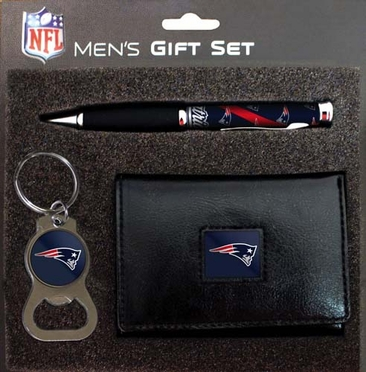 New England Patriots Trifold w/Pen & Keychain Gift Set