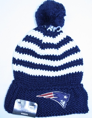 New England Patriots Women's New Era NFL Chunky Stripe Fashion Knit Hat