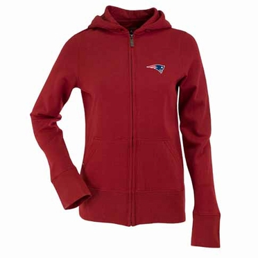 New England Patriots Womens Zip Front Hoody Sweatshirt (Alternate Color: Red)