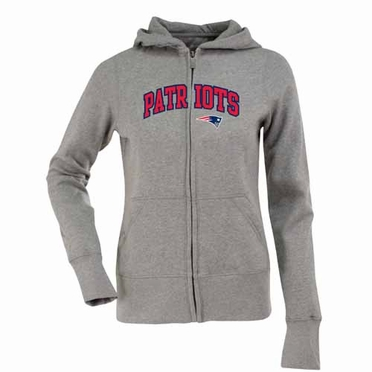 New England Patriots Applique Womens Zip Front Hoody Sweatshirt (Color: Gray)