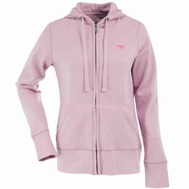 New England Patriots Womens Zip Front Hoody Sweatshirt (Color: Pink)