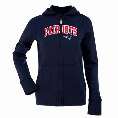 New England Patriots Applique Womens Zip Front Hoody Sweatshirt (Color: Navy)