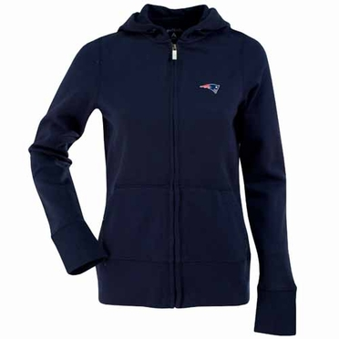 New England Patriots Womens Zip Front Hoody Sweatshirt (Team Color: Navy)