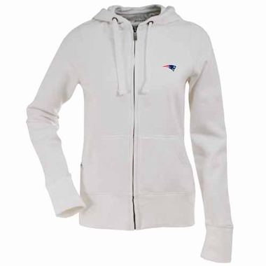New England Patriots Womens Zip Front Hoody Sweatshirt (Color: White)