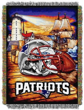 New England Patriots Woven Tapestry Throw Blanket