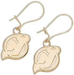 New Jersey Devils 10K Gold Post or Dangle Earrings