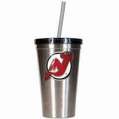 New Jersey Devils 16oz Stainless Steel Insulated Tumbler with Straw