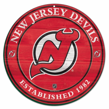 New Jersey Devils 19.75 Inch Wood Sign