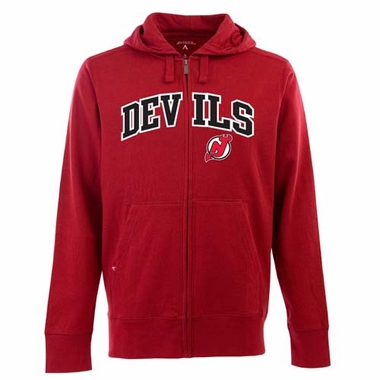 New Jersey Devils Mens Applique Full Zip Hooded Sweatshirt (Color: Red)