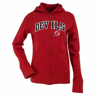 New Jersey Devils Applique Womens Zip Front Hoody Sweatshirt (Team Color: Red)