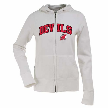 New Jersey Devils Applique Womens Zip Front Hoody Sweatshirt (Color: White)