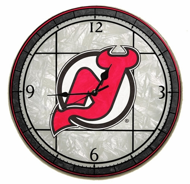 New Jersey Devils Art Glass Clock