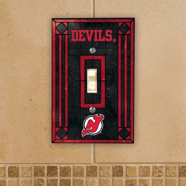 New Jersey Devils Art Glass Lightswitch Cover