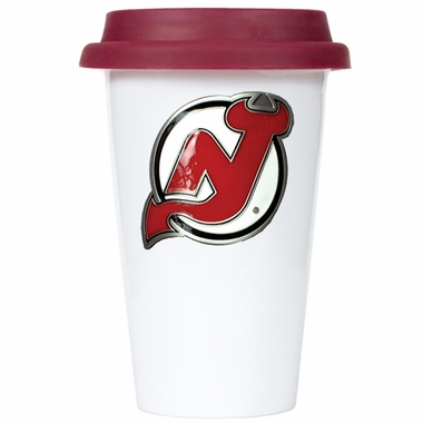 New Jersey Devils Ceramic Travel Cup (Team Color Lid)