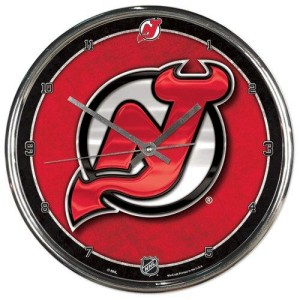 New Jersey Devils Round Chrome Wall Clock