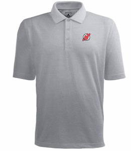New Jersey Devils Mens Pique Xtra Lite Polo Shirt (Color: Gray) - Large