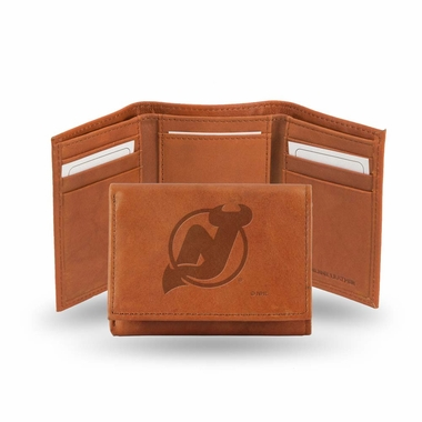 New Jersey Devils Embossed Leather Trifold Wallet