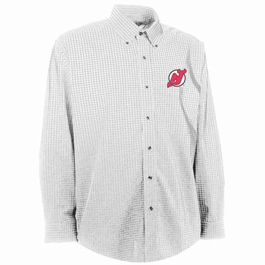 New Jersey Devils Mens Esteem Check Pattern Button Down Dress Shirt (Color: White)