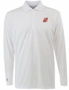 New Jersey Devils Mens Long Sleeve Polo Shirt (Color: White) - Large