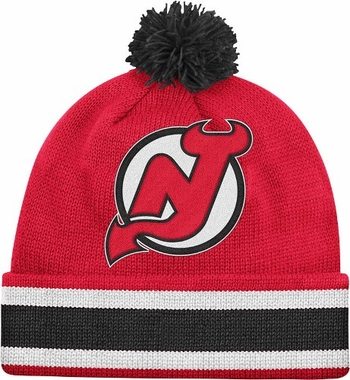 New Jersey Devils Mitchell & Ness NHL Jersey Stripe Cuffed Knit Hat w/ Pom