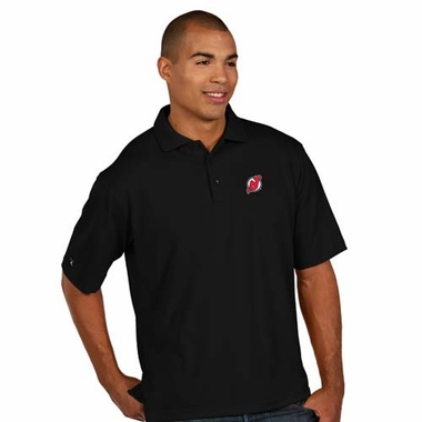 New Jersey Devils Mens Pique Xtra Lite Polo Shirt (Color: Black)