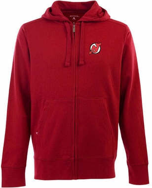 New Jersey Devils Mens Signature Full Zip Hooded Sweatshirt (Team Color: Red)